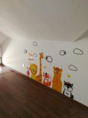 tranh dán tường mica happy children